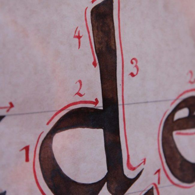 détail lettre calligraphie